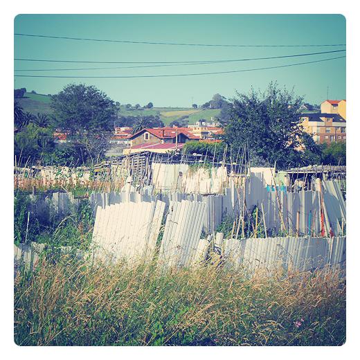 cercados, huertos y prados al resguardo, lamas de persianas, pvc, paisaje, reutilizacion, usos agricolas en Torrelavega