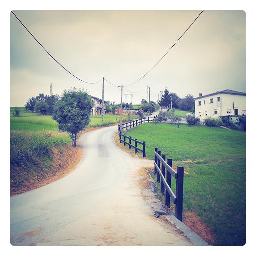 camino blanco, via, carretera local, pueblo, hierba verde, arboles, naturaleza, talanquera, periferia, exterior, otra mirada, poesia visual en Torrelavega