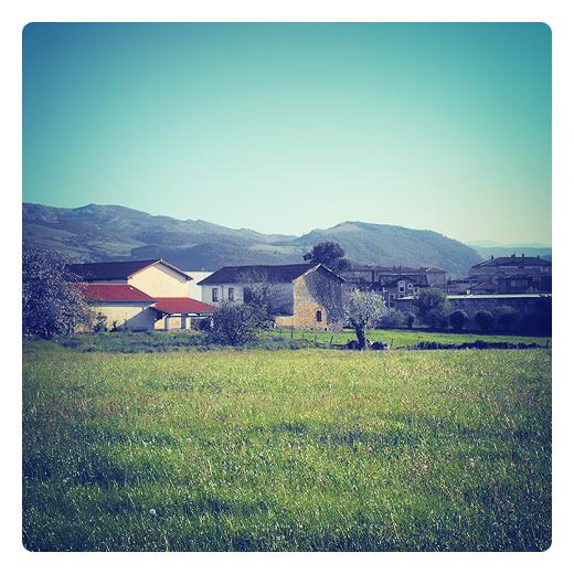 paisaje lineal, casas y montañas, arboles, prado, horizonte de montañas, paisaje en Torrelavega