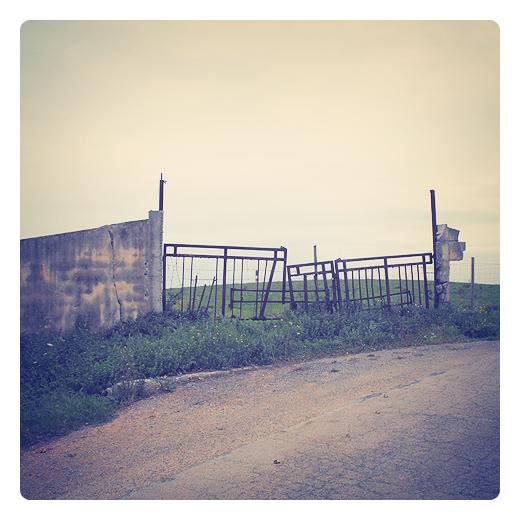 entropia, desorden molecular, caos, irreversibilidad, verja de hierro, pared caida, carretera comarcal, prado, Alto de Barreda en Torrelavega