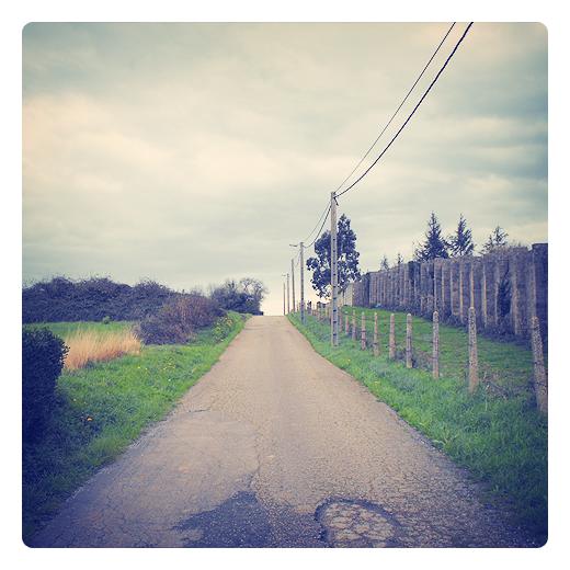 cambio de rasante, pavimento, carretera local, infraestructuras de transporte, parches de asfalto, red electrica, paisaje de arboles, horizonte, Caserios, fotografia de Torrelavega