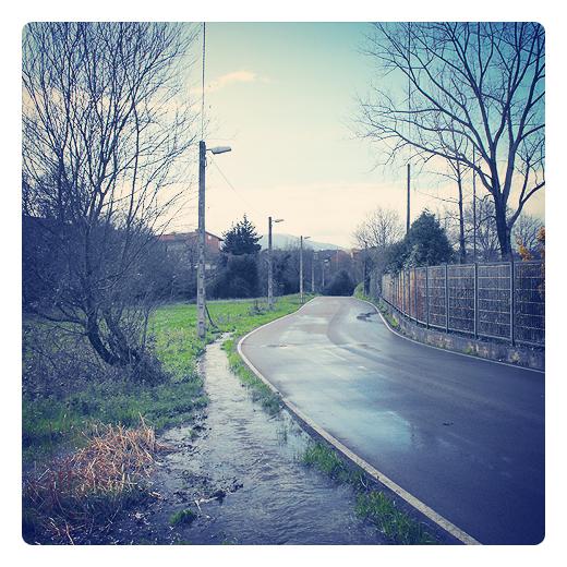 carretera en invierno, reflejos agua, carretera comarcal, dia de lluvia, paisaje de arboles y casas, regato, red electrica, Tronquerias, fotografia de Torrelavega