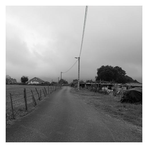 casetas, casuchas, chabolas, carretera comarcal, red electrica, paisaje de arboles y casas, periferia, extrarradio, fotografia de Torrelavega