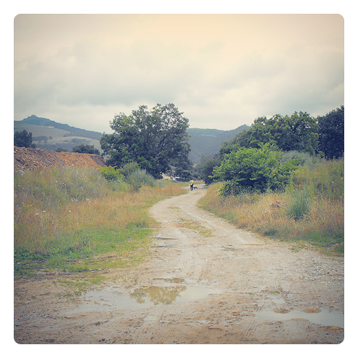 diminuto, pequeño, silueta humana, horizonte de montañas, paisaje de arboles, camino, periferia, extrarradio, agua de lluvia, El Valle, fotografia de Torrelavega