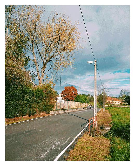 puente rojo, colores de otoño, otoño en Torrelavega, Tronquerias, tarde soleada, carretera comarcal, fotografia de Torrelavega
