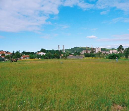 caballo, hombre, prado verde, horizonte de montañas, hierba alta, chimeneas fabrica, SNIACE, Ganzo, fotografia de Torrelavega