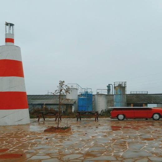 rojo, color, dia de lluvia, nublado, parque, boya, coche, fotografia de Torrelavega