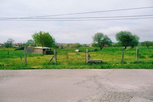 paisaje lineal, horizonte, casetas, prado verde, paisaje de arboles, fotografia de Torrelavega