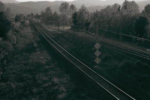 ferrocarril, vía de tren, paisaje con árboles, horizonte de montañas, lineas